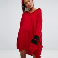ASOS Knitted Dress With V-Neck And Sports Tipping at asos.com