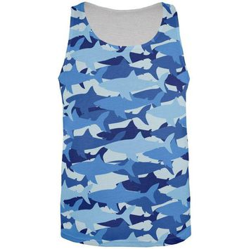 LMFCY8 Shark Camo All Over Adult Tank Top