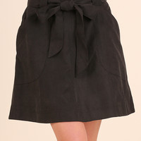 Black A-Line Skirt with Ribbon Belt