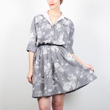 Vintage 80s Dress Gray White Floral Print Mini Dress 1980s Dress Shirt Dress Preppy 1980s does 1960s Dress Day Dress Shirtdress M L Large