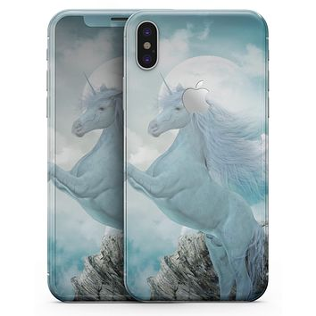 Majestic White Stallion Unicorn Rearing in Triump over Enemies Before the Light of a Full Moon on a Mid Summer's Night - iPhone X Skin-Kit
