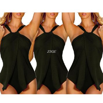 2017 Sexy Women Polyester Strapless Halter Top Sling Plain Backless Bodycon Swimsuit  APR3_30