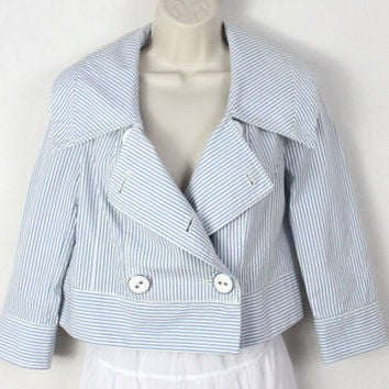 Super Cute Daughters of the liberation Jacket 2 xs size Blue White Striped Box fit Anthropologie