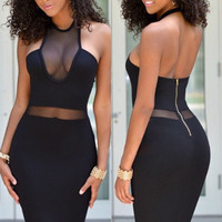 Black Halter Backless Mesh Cutout Bodycon Midi Dress