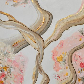 """ORIGINAL Art Abstract Painting Pink White Beige Grey Rose Gold Leaf Coastal Wall Art 24x36"""""""