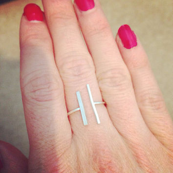 Rectangle Double Silver Bar Ring