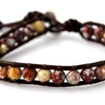 Single Layer Handmade Leather Wrap Bracelet with Jasper