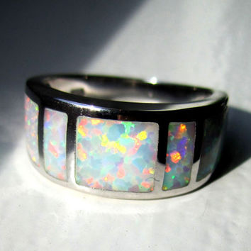 Sterling fire opal ring 925 opal ring silver opal ring opal wedding bands silver white fire opal ring October birthstone fire opal clearance