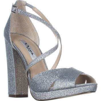 Nina Marylyn Peep Toe Dress Sandals, Silver, 8.5 US / 38.5 EU