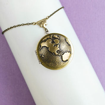 Globe Locket Necklace, World Map, Vintage Locket Necklace, Secret Locket, Antique Locket, As the World Turns, World Traveler, Gift for Her,