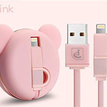 iPhone Charger, Oatsbasf Retractable Cute Bear Lightning Cable Micro Usb Cable 2 in 1 Sync and Charge Portable Flexible High Speed Charging Cable for iPhones iPad iPod Android Phones, 3.3ft (Pink)