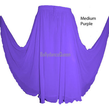 Medium Purple Skirts - Women Girl Chiffon Full Circle Skirt Belly Dance Tribal Costume Ethnic Long Skirts Maxi Skirts Elastic Waist 26 Color