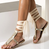 """Gold leather sandals, Ivory sandals, Wedding flat sandals with silk laces, Custom color """"Elpida"""" NEW SS17 - Free standard shipping"""