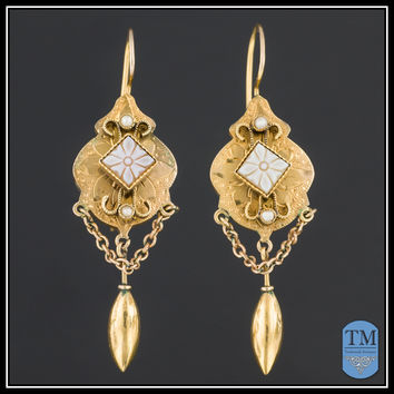 Antique Victorian 14k Gold Cameo Etruscan Revival Earrings