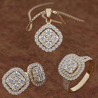 Fashion Women 18k Diamond Hoop Earrings Wedding Party Engagement Gift Ring Earring Necklace Set
