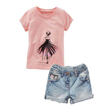Girls Fashion Boutique Summer Outfits T-shirt And Denim Shorts Toddler Girl Garment Trendy Clothing Kids Shorts Sets Girls Suit