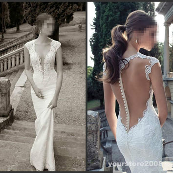 2015 Sexy Deep V-Neck Lace Backless Mermaid Berta Bridal Sleeve Wedding Dresses
