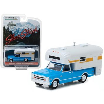 1968 Chevrolet C10 Cheyenne Blue with Silver Streak Camper Hobby Exclusive 1-64 Diecast Model Car by Greenlight