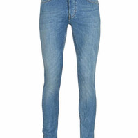 LIGHT BLUE WASHED MARBLED SPRAY ON SKINNY JEANS - Men's Jeans - Clothing