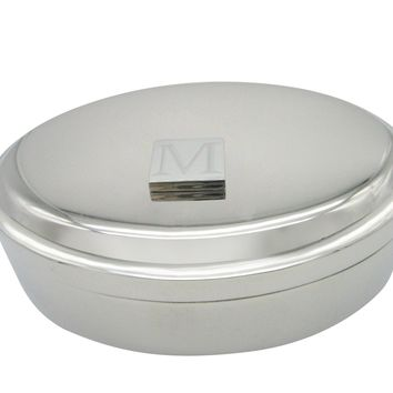 Letter M Etched Monogram Pendant Oval Trinket Jewelry Box