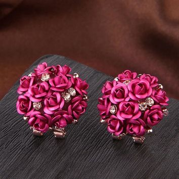 2017 Fashion Gorgeous Multicolor Crystal Flower Stud Earrings  For Womens Party Earring Delicate