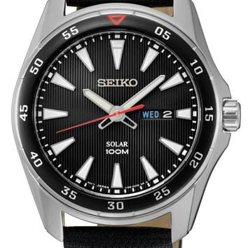 Seiko Solar Mens Core Series - Black Dial - Stainless Steel - Leather Strap