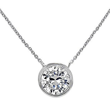 "Silver Solitaire Pendant Necklace .925 Sterling Silver Round Bezel 8mm CZ 16"" - 18"" Jewelry Box"