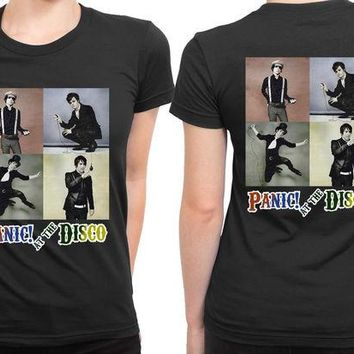 DCCK7H3 Panic At The Disco Photo Vintage Four 2 Sided Womens T Shirt