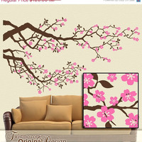 Cherry Blossoms Vinyl Wall Decal: Large Tree Branches Set with Pink Flowers