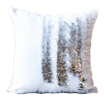 10-Pack White & Silver Sequin Pillow Covers (Satin Back) - COVER ONLY (Inserts Sold Separately)