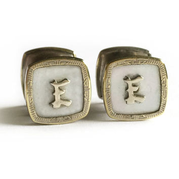 Monogram Cufflinks Initial E / Pioneer Art Deco Cufflinks / Snap Link Cuff Links / Silver Toned Engraved Mother of Pearl Snaplinks