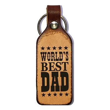 Worlds Best Dad Leather Engraved Keychain