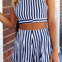 HOT CUTE TWO PIECE STRIPE ROMPER