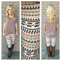 Brown Fall Geo Print Leggings