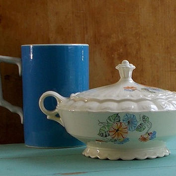 Vintage Soup Tureen - 1950s Taylor Smith USA - Morning Glories - Serving Dish - Cottage and Retro Decor