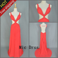 High Quality V-neck Straps Backless Chiffon Pleated Long Prom/Evening/Party/Homecoming/cocktail /Bridesmaid/Formal Dress