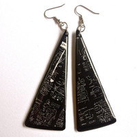 1983 Black Upcycled Vinyl Record Long Dangle Earrings by ILLZ360