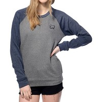 Obey Shaka Waves Navy Crew Neck Sweatshirt