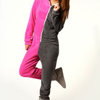 Heidi Two Colour Supersoft Hooded Onesuit