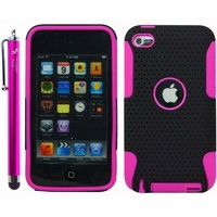 The Friendly Swede Hybrid Design Protector Hard Case for Apple iPod Touch 4G - Hot Pink/Black