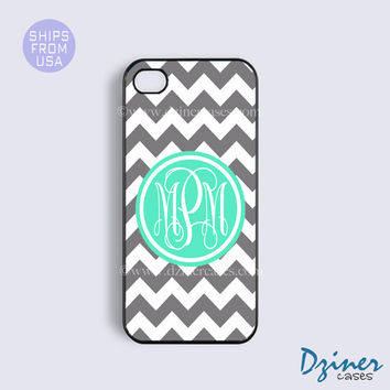 Monogram iPhone 5s Case, iPhone 5 Cover, iPhone 4 4s Cases, Galaxy S4 Rubber Case - White Grey Chevron Green Center Best Customized Case