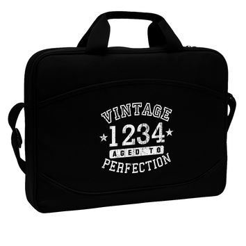 """Vintage Birth Year Distressed Personalized 15"""" Dark Laptop / Tablet Case Bag by TooLoud"""