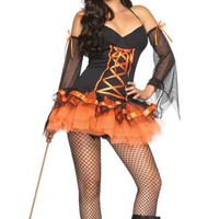 Spaghetti Strap V-neck Halloween Witch Costume Mini Skater Dress Set