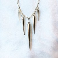 Long Silver Spike Minimal Necklace | Alternative Jewelry | FREE DOMESTIC SHIPPING