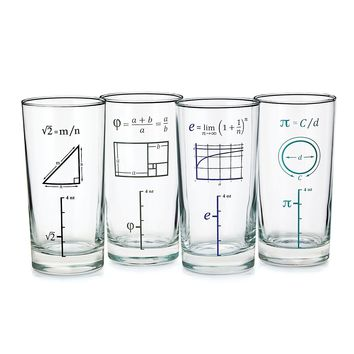 Mathematical Glasses - Set of 4 | Geek Gifts; Fun Barware