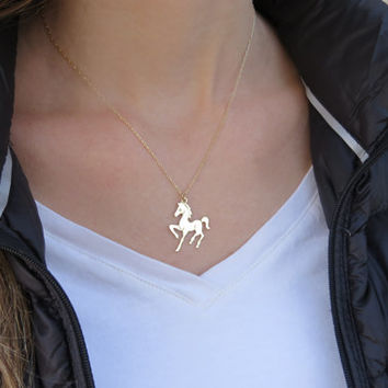 Gold necklace, Horse necklace, Dainty gold necklace, Horse jewelry, Animal gold jewelry, Horse charm necklace, Gift for her, Unique necklace