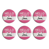 Jan Hello My Name Is Plastic Resin Button Set of 6