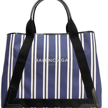 Balenciaga - Cabas leather-trimmed striped canvas tote