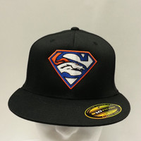 Denver Broncos Superman Super Bowl  logo  embroidered on fitted flat bill hat Free Shipping