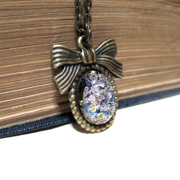 Antiqued Brass Bow and Lavender Purple Harlequin Opal Necklace - Antiqued Brass - Feminine Delicate Petite
